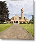 Brick Path To Mt Angel Abbey Church Entrance Metal Print