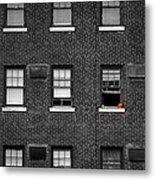 Brick Wall And Windows Metal Print