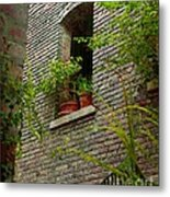 Brick With Greenery Metal Print