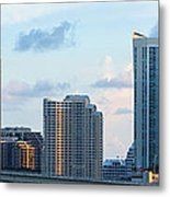 Brickell Key And Miami Skyline Metal Print