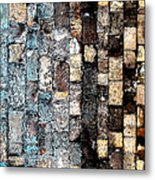 Bricks Of Turquoise And Gold Metal Print
