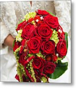 Bridal Bouquet With Red Roses Metal Print