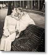 Bride And Daughter Kiss In Jackson Square New Orleans Metal Print