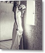 Bride At The Window. Black And White Metal Print
