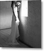 Bride At The Window I. Black And White Metal Print