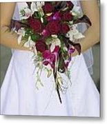 Brides Bouquet And Wedding Dress Metal Print