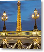 Bridge And Eiffel Metal Print