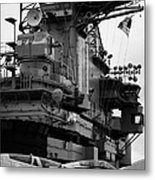 Bridge And Flight Deck Island On The Uss Intrepid New York Metal Print
