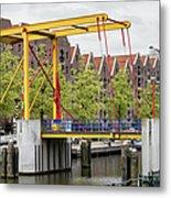 Bridge And Houses On Entrepotdok In Amsterdam Metal Print