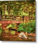 Bridge And Swan Metal Print