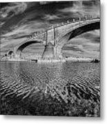 Bridge Curvature In Black And White Metal Print