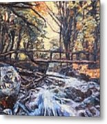 Morning Bridge In Woods Metal Print