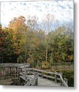 Bridge Into Autumn Metal Print by Guy Ricketts