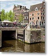 Bridge On Singel Canal In Amsterdam Metal Print
