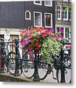 Bridge Over Canal In Amsterdam Metal Print