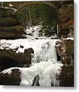Bridge Over Frozen Water Metal Print