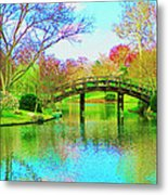 Bridge Over Lake In Spring Metal Print