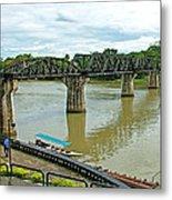 Bridge Over River Kwai In Kanchanaburi-thailand Metal Print