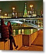 Bridge Over River Near The Kremlin At Night In Moscow-russia Metal Print