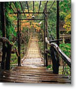 Bridge Over Waterfall Metal Print