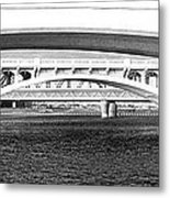 Bridge Panorama Black And White Metal Print