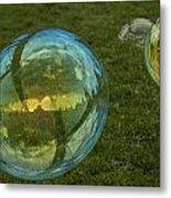 Bridge Reflections In The Bubbles Metal Print