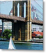 Bridge - Sailboat By The Brooklyn Bridge Metal Print