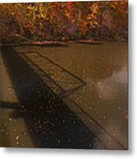 Bridge Shadow In Autumn On The  Duck River Tennessee Fine Art Prints As Gift For The Holidays  Metal Print