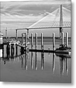 Bridge To Mount Pleasant - Black And White Metal Print