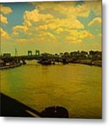 Bridge With Puffy Clouds Metal Print