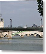Bridges Over The Seine And Conciergerie - Paris Metal Print