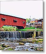 Bridgeton Mill And Covered Bridge Metal Print
