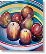 Red Apples In Striped Bowl Metal Print