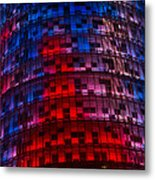 Bright Blue Red And Pink Illumination - Agbar Tower Barcelona Metal Print