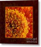 Bright Budding And Golden Abstract Flower Painting Metal Print