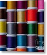 Bright Colored Spools Of Thread Metal Print