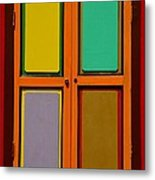 Bright Colorful Window Shutters With Four Panels Metal Print
