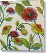 Bright Contemporary Floral  Metal Print