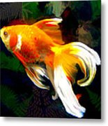 Bright Golden Fish In Dark Pond Metal Print