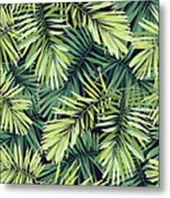 Bright Green Background With Tropical Metal Print