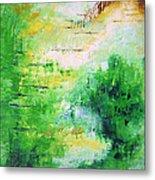 Bright Green Modern Abstract Garden Spirits By Chakramoon Metal Print