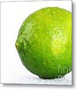 Bright Green Wet Lime Over White Metal Print