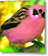 Bright Pink Finch Metal Print