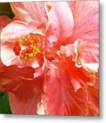 Bright Pink Hibiscus Metal Print by James Temple