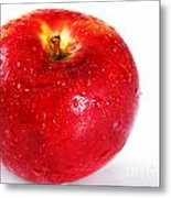 Bright Red Apple With Water Drops Metal Print