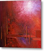 bright red modern abstract IN TOUCH WITH YOUR SOUL by Chakramoon Metal Print