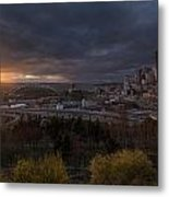 Bright Seattle Sunstar Dusk Skyline Metal Print