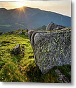 Bright Sunset Landscape In Mountains Metal Print