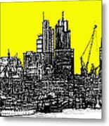 Dark Ink With Bright Yellow London Skies Metal Print