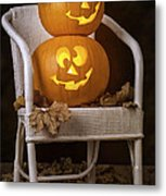 Brightly Lit Jack O Lanterns Metal Print